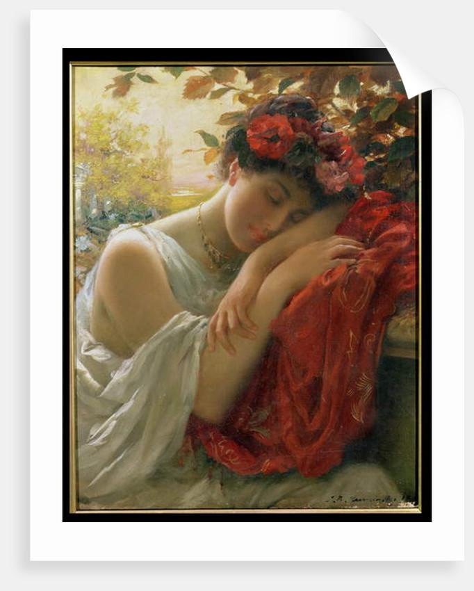 Woman Dreaming by Thomas Benjamin Kennington