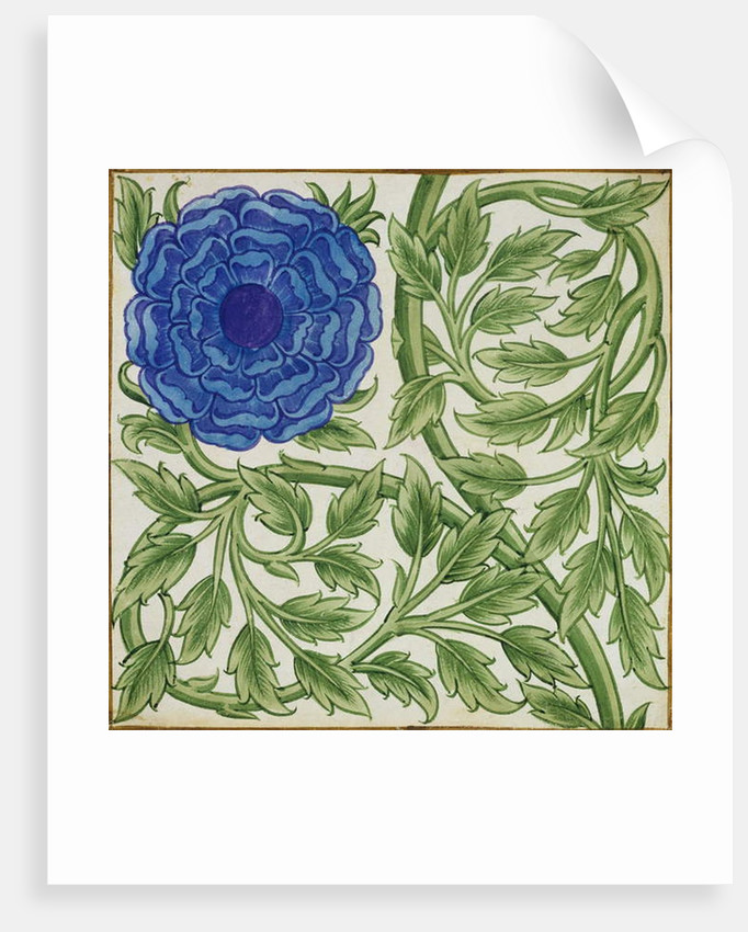 Plant with a blue flower by William De Morgan