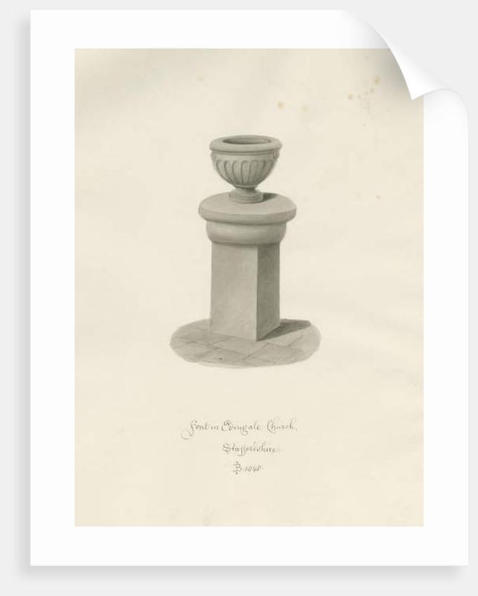 Font in Edingale Church by John Buckler
