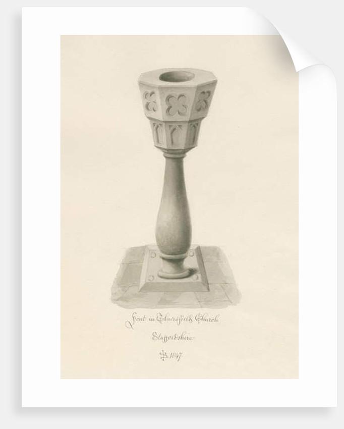 Font in Thursfield Chapel by John Buckler