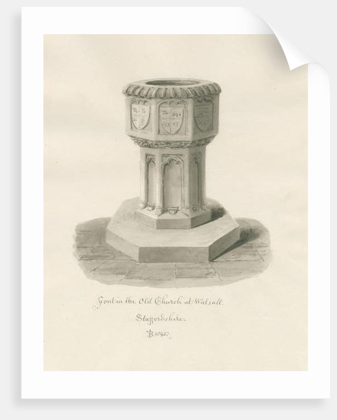 Font in Walsall Church ['Old'] by John Buckler