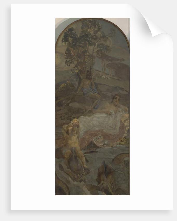 Venus, Amor and Paris, centre panel of The Judgment of Paris triptych, 1893 by Mikhail Aleksandrovich Vrubel