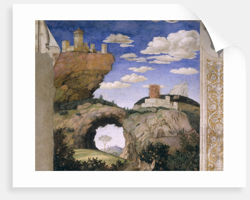 Landscape with a castle by Andrea Mantegna