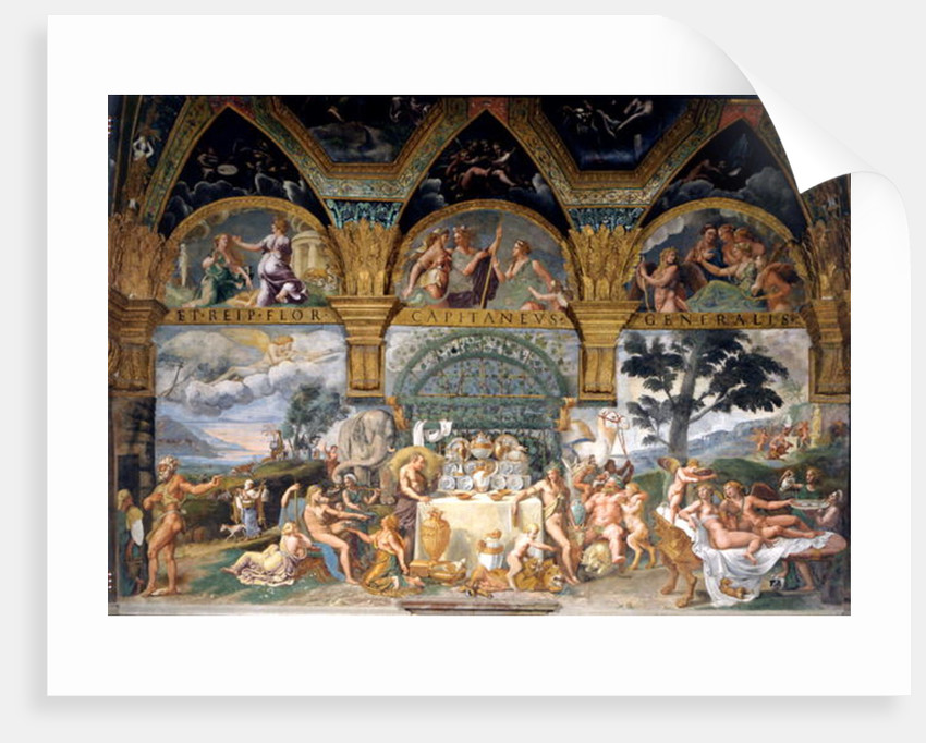 The noble banquet celebrating the marriage of Cupid and Psyche from the Sala di Amore e Psiche by Giulio Romano