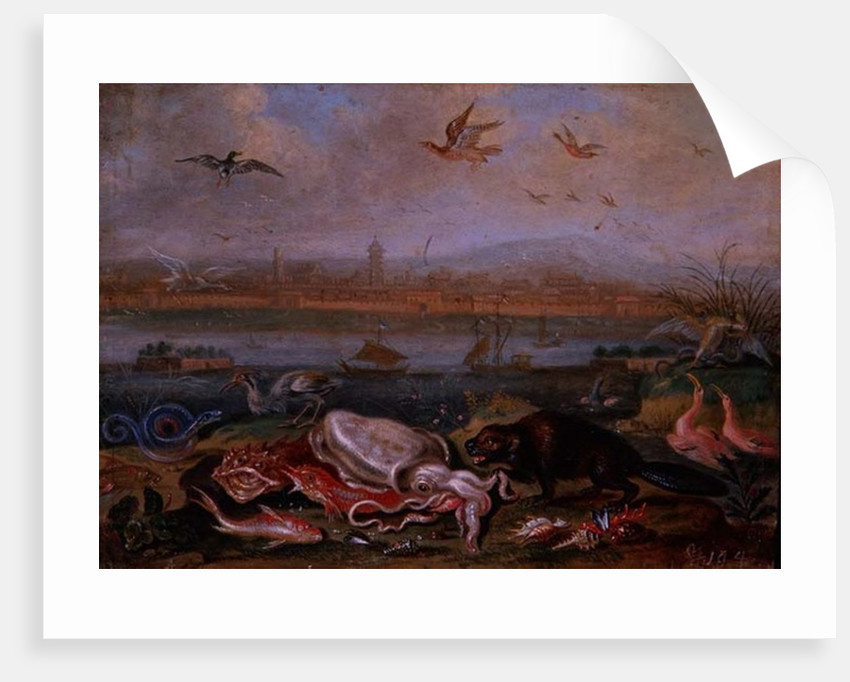 Creatures from the four continents in a landscape with a view of Canton in the background by Ferdinand van Kessel