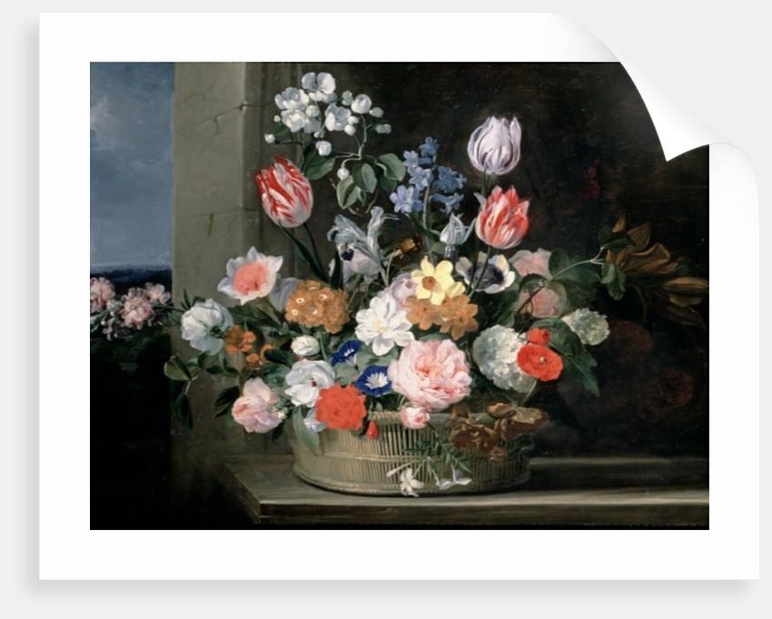 Flowers in a Basket by Jan van den Hecke
