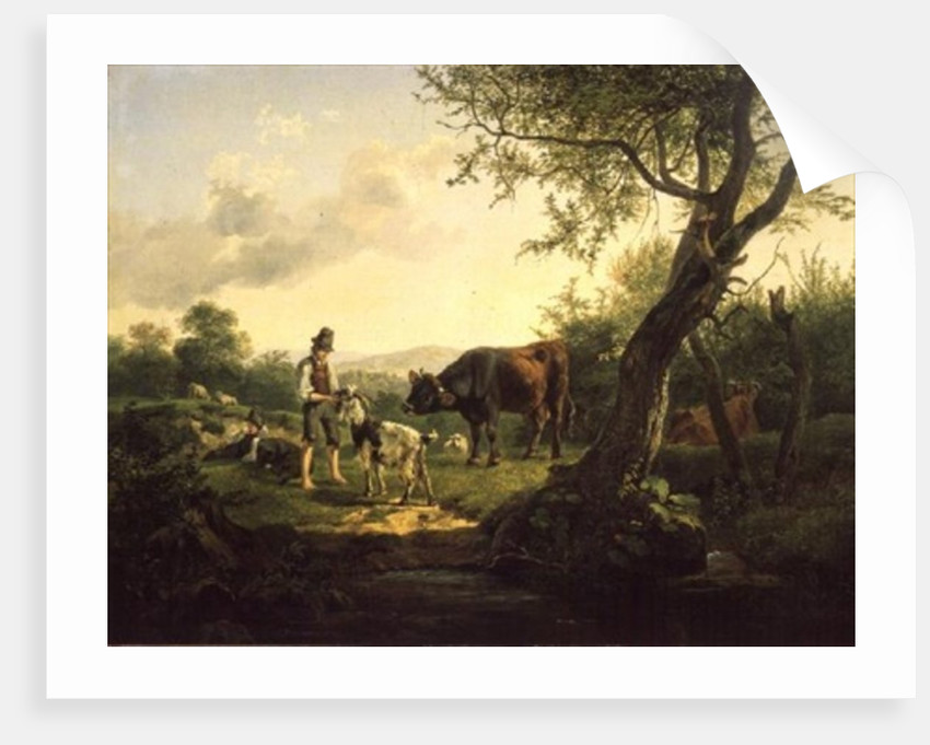Landscape with a Shepherd by Friedrich Gauermann