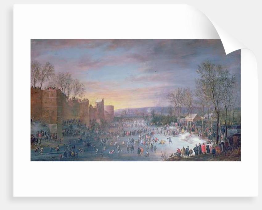 Ice Skating on the Stadtgraben in Brussels by Robert van den Hoecke