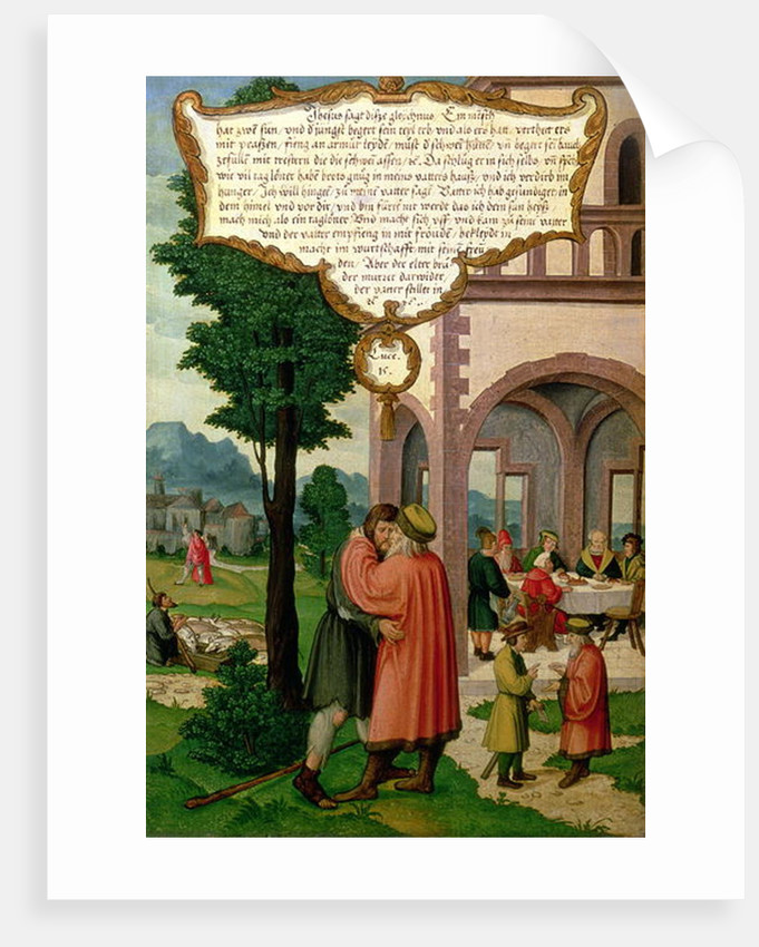 The Parable of the Prodigal Son, section from the Mompelgarter Altarpiece by Matthias Gerung or Gerou