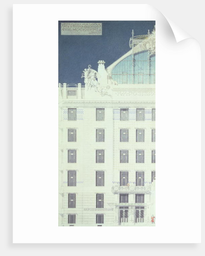 Post Office Savings Bank, Vienna, design showing detail of the facade by Otto Wagner