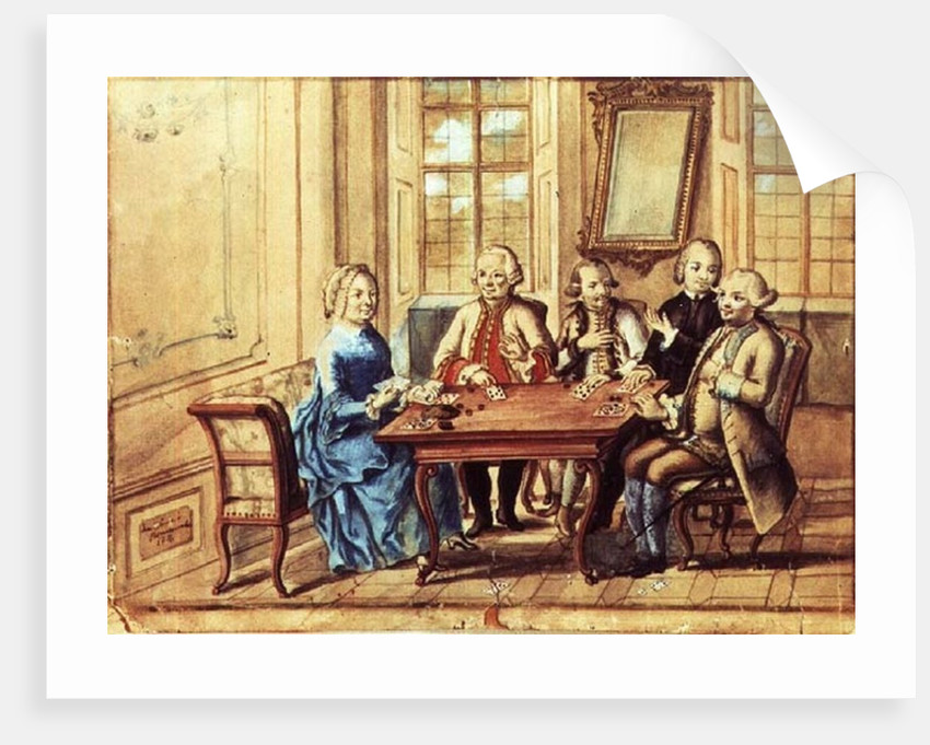 Empress Maria Teresa of Austria playing cards with Field Marshall Karoly Batthyany, Nadasky and Field Marshall Leopold Joseph, Count von Daun by Austrian School