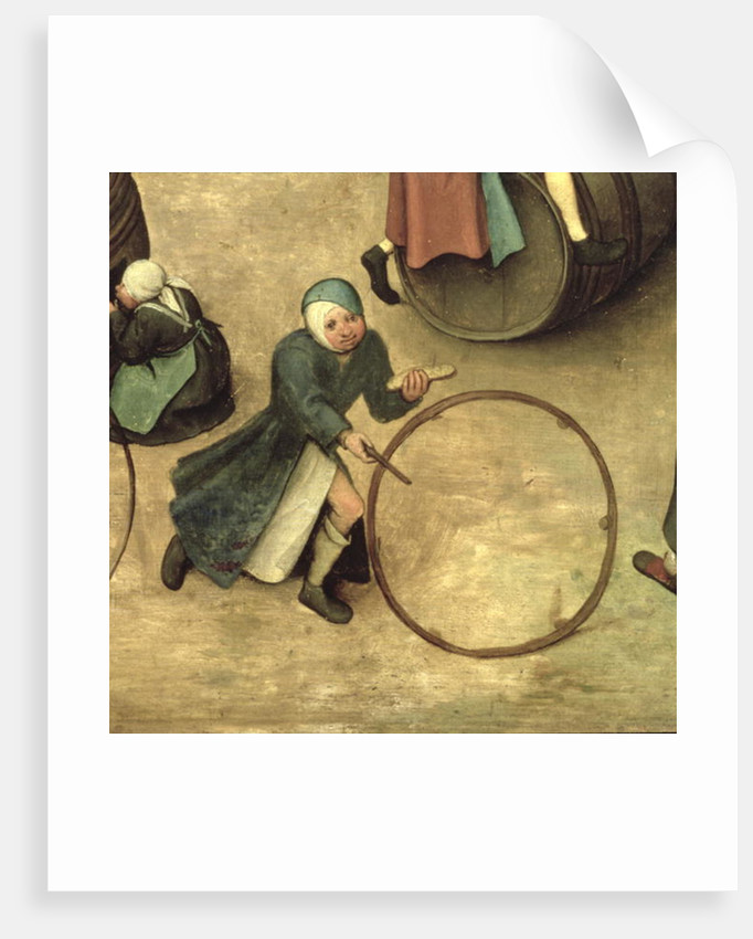 Children's Games: detail of a child with a stick and hoop by Pieter Bruegel the Elder