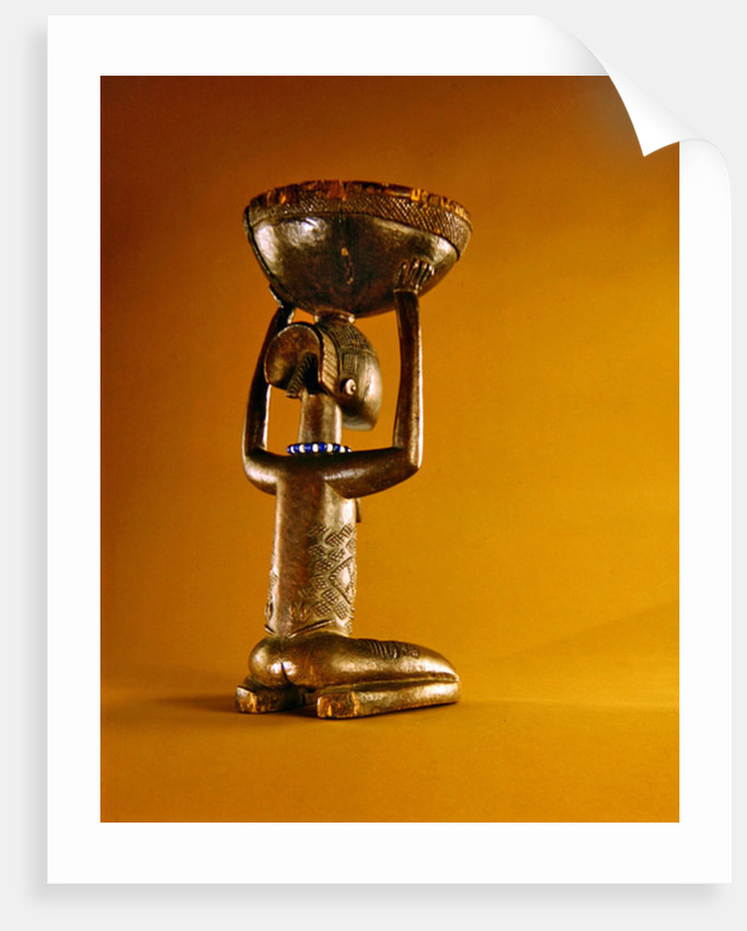 Stool with a kneeling female caryatid, Democratice Rupublic of the Congo by African School
