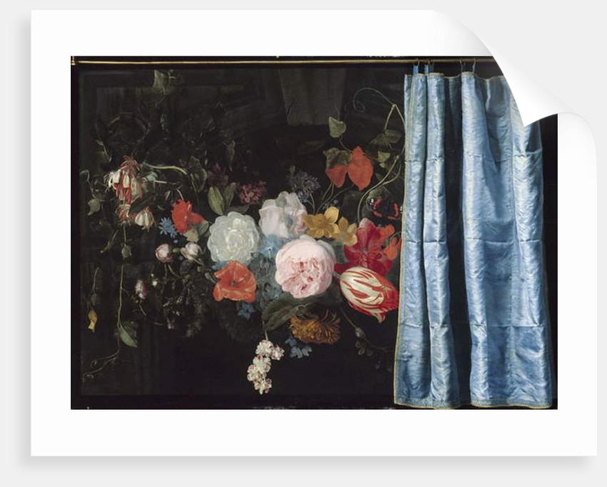 Trompe-l'Oeil Still Life with a Flower Garland and a Curtain, 1658 by Adriaen van & Mieris Frans van Spelt