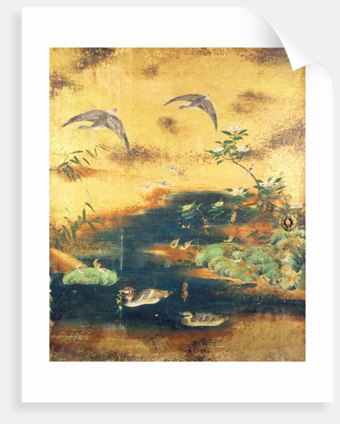 Birds and flowers sliding-door panel by Japanese School