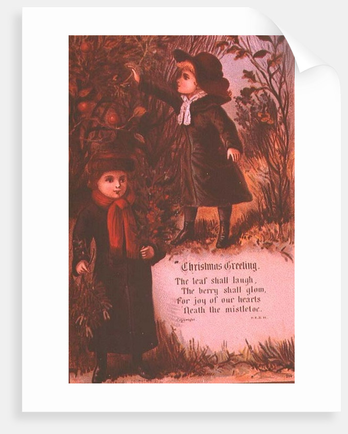 Two Victorian Children Collecting Autumn Berries and Mistletoe by English School