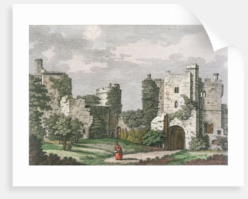 Inner view and gate of Bodiam Castle, Sussex by English School