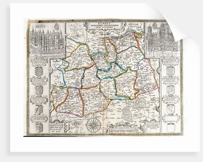Map of Surrey, described and divided into hundreds by English School