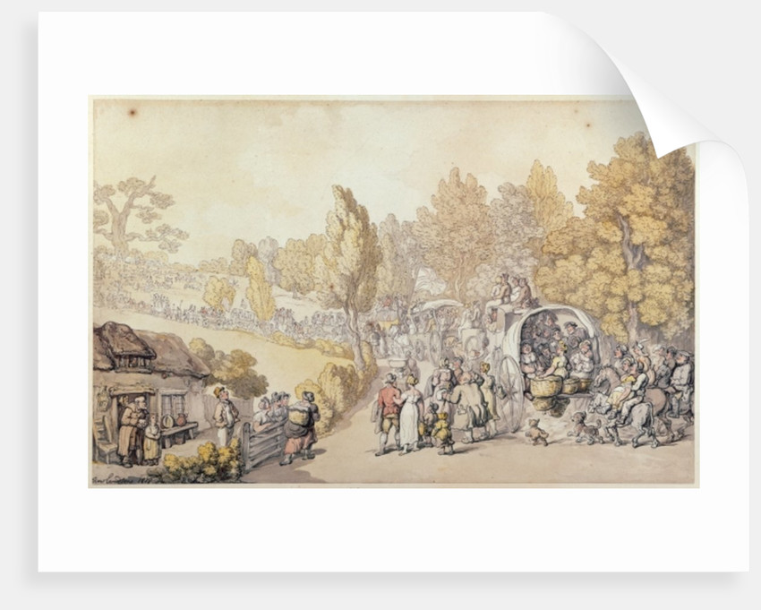 Cartoon depicting country folk leaving for the town by Thomas Rowlandson