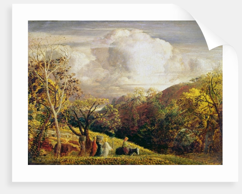 Landscape, figures and cattle by Samuel Palmer
