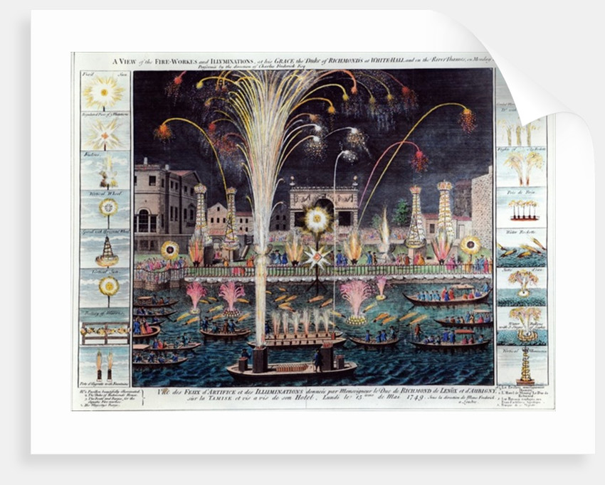 A view of the Fire-workes and Illuminations at his Grace the Duke of Richmond's at White-hall and on the River Thames by English School