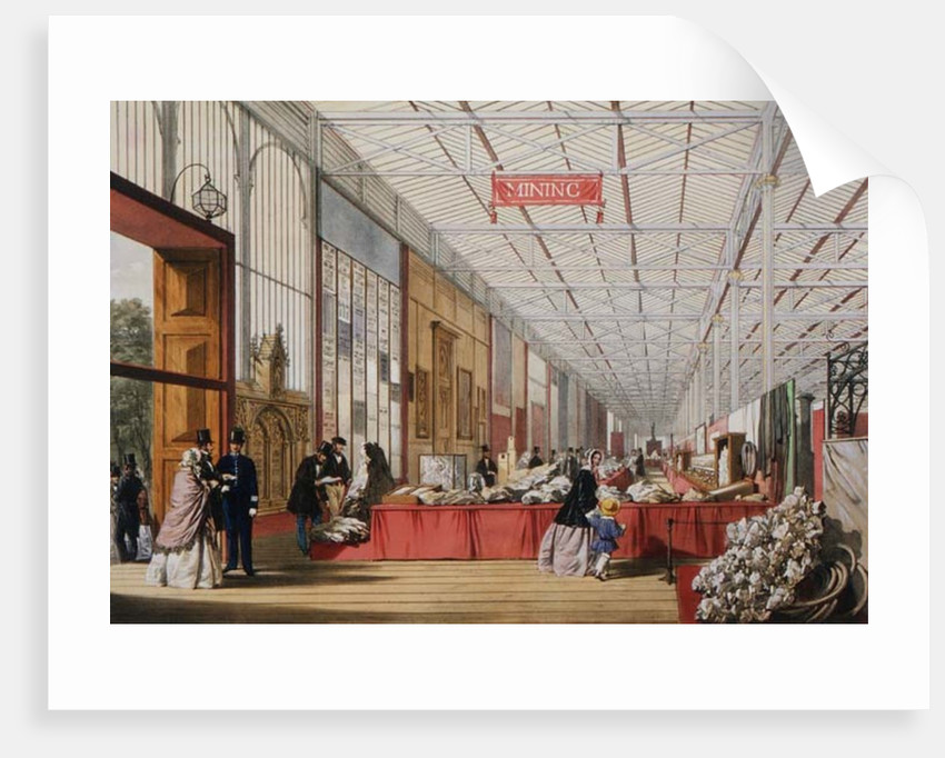Minerals: Gallery displaying rocks and crystals at the Great Exhibition in 1851 by English School