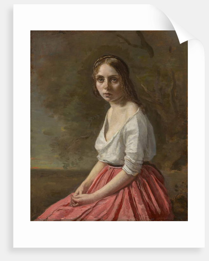 Young Woman in a Pink Skirt, c.1845-50 by Jean Baptiste Camille Corot