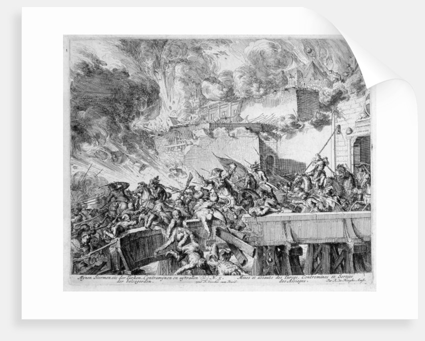 Vienna Print Cycle, Explosion of a Mine and Countermine, Raid on the Turks, 1683 by Romeyn de Hooghe