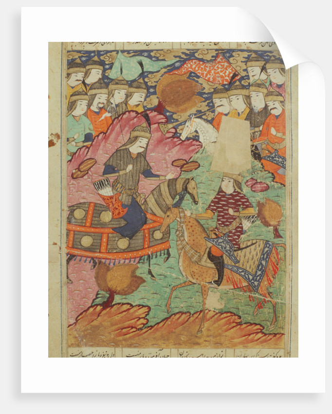 Duel on horseback between Rostam and Afrasiab by Persian School
