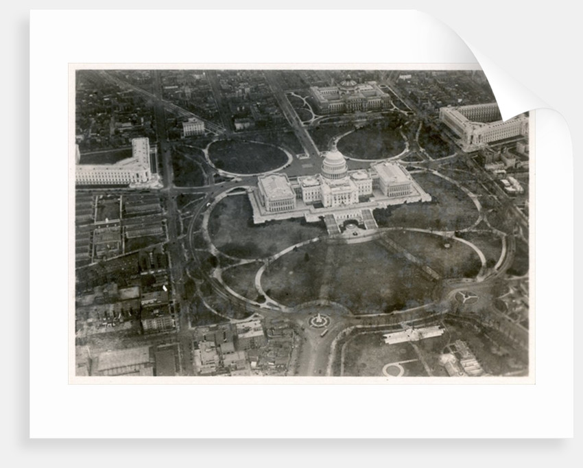 Aerial photo of the Capitol building, taken from the LZ 127 Graf Zeppelin, Washington 1928 by German Photographer