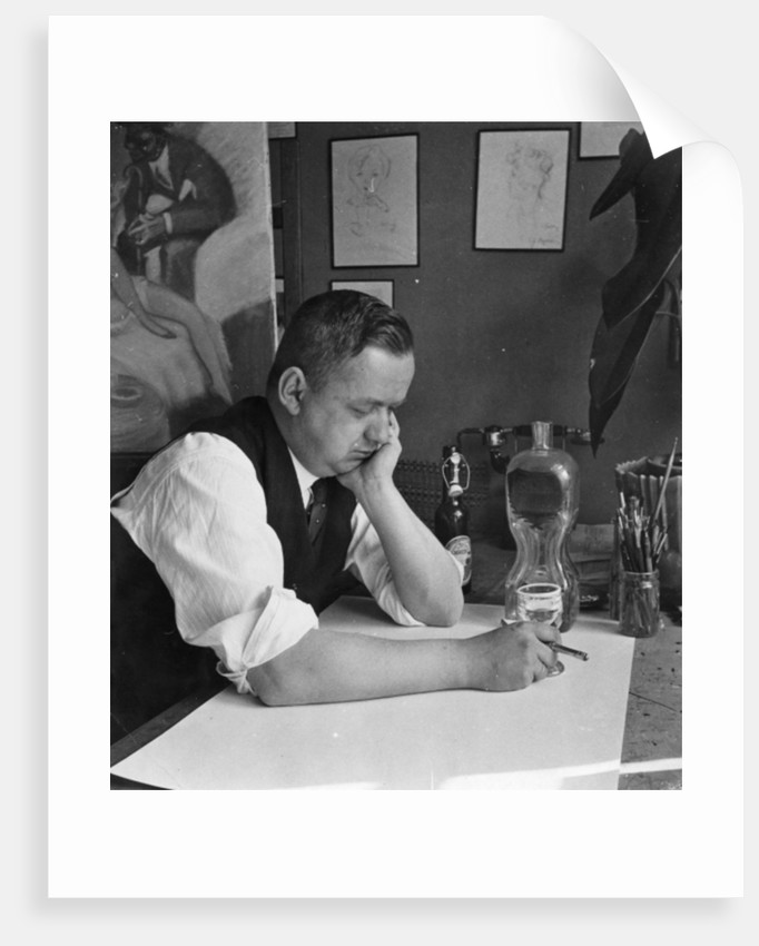 Portrait of German caricaturist Ferdinand Barlog by German Photographer