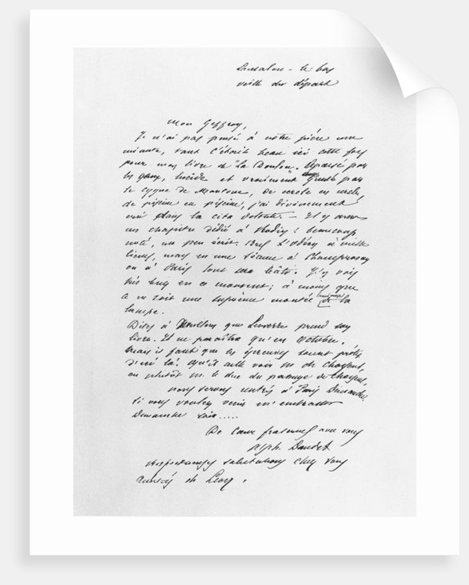 Letter sent by Alphonse Daudet by French School