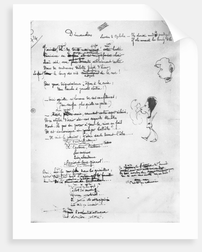 Illustrated draft of 'Dimanches' by Jules Laforgue