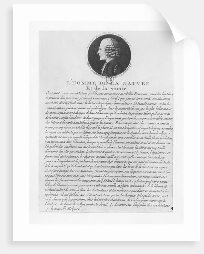 L'Homme de la Nature et de la Verité, Jean-Jacques Rousseau by French School
