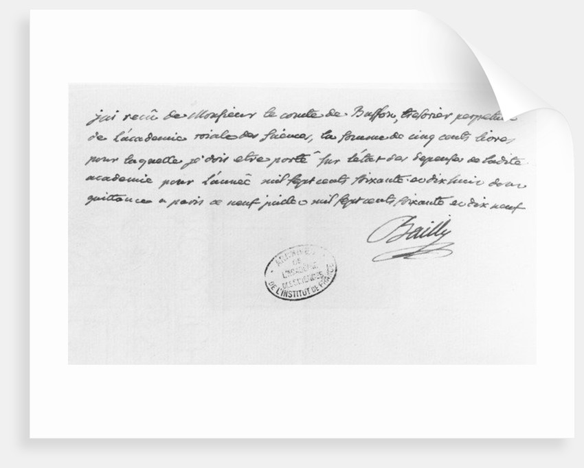 Letter from Jean-Sylvain Bailly sent in 1779 by French School