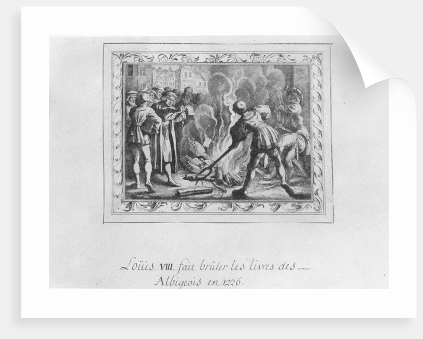 Louis VIII burning the Albigensian books in 1226 by French School