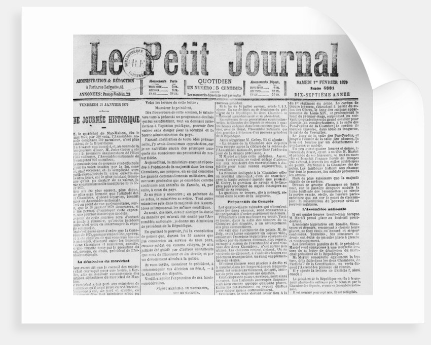 Front page of 'Le Petit Journal', telling of the resignation of Patrice de MacMahon, 1 February 1879 by French School