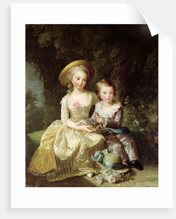 Child portraits of Marie-Therese-Charlotte of France, future Duchess of Angouleme, and Louis-Joseph-Xavier of France Premier Dauphin by Elisabeth Louise Vigee-Lebrun