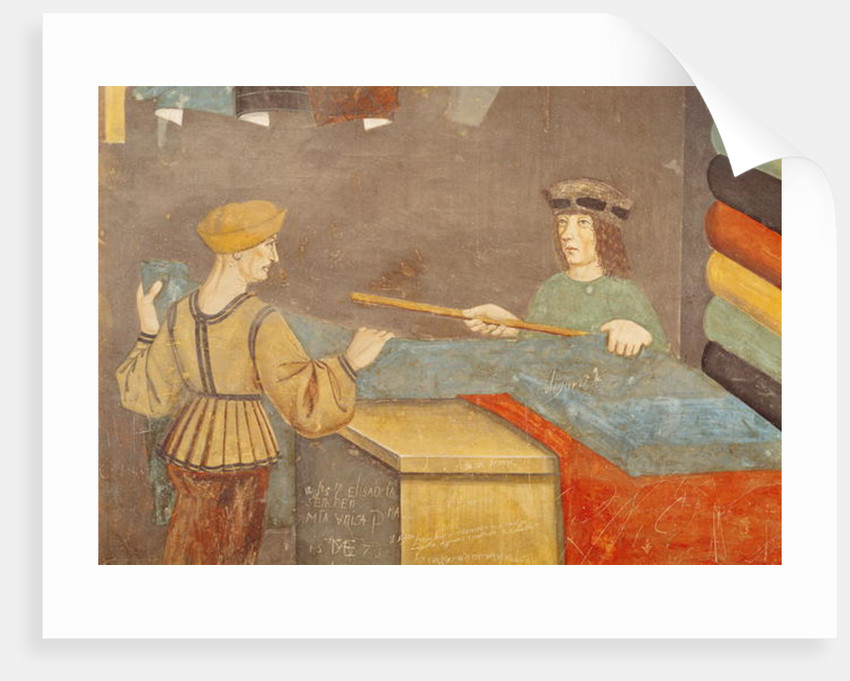 A Cloth Merchant Measuring Cloth by Italian School