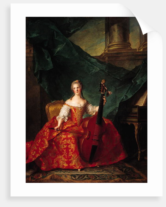 Madame Henriette de France in Court Costume Playing a Bass Viol by Jean-Marc Nattier