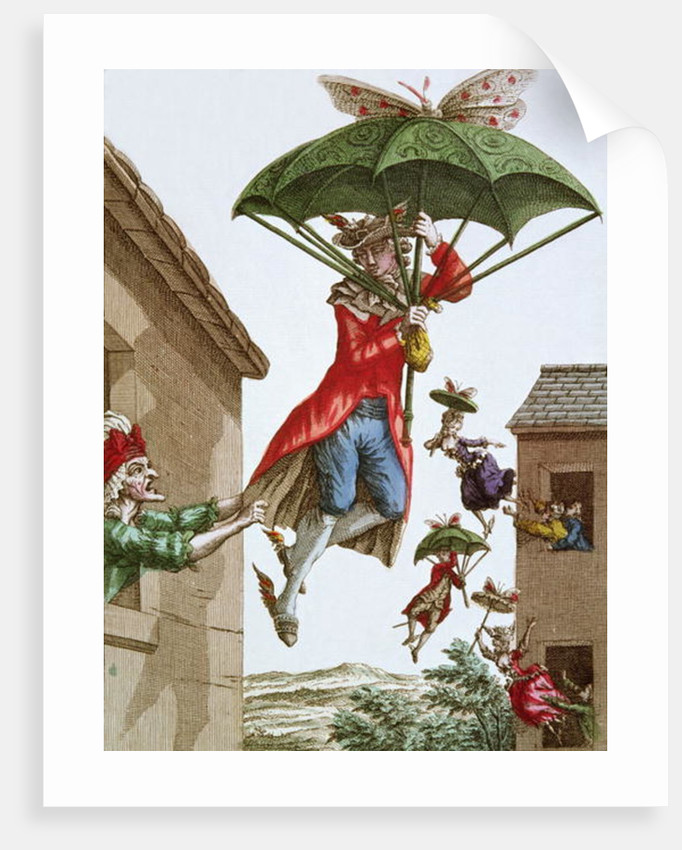 Held Aloft by Umbrellas and Butterflies, Men and Women Fly Out of Windows by French School