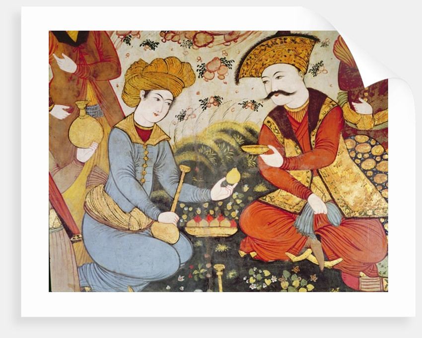Shah abbas i and a courtier offering fruit and drink posters greetings card shah abbas i and a courtier offering fruit and drink by persian school m4hsunfo