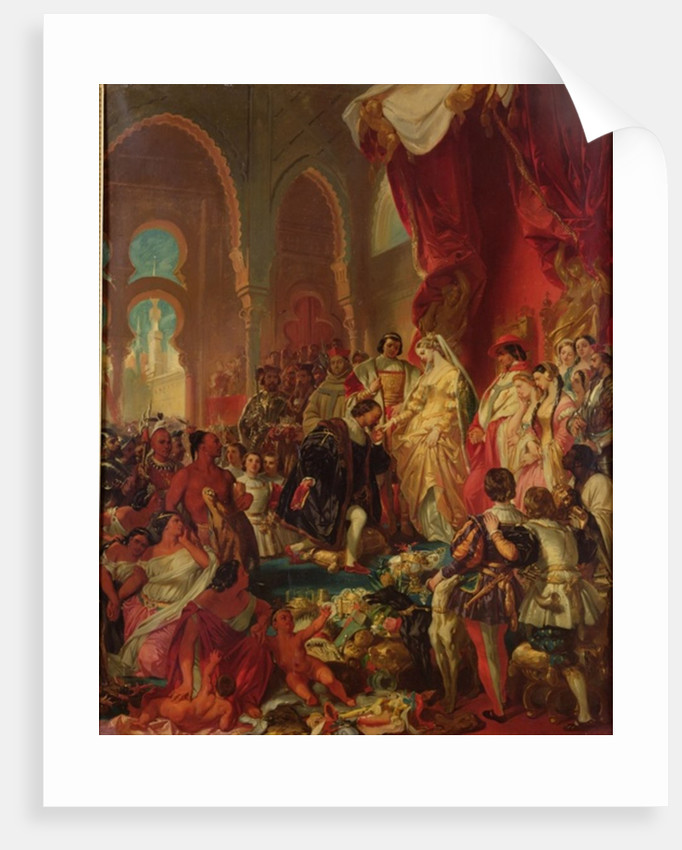 Christopher Columbus Before Ferdinand II of Aragon and Isabella of Castille by Eugene Deveria