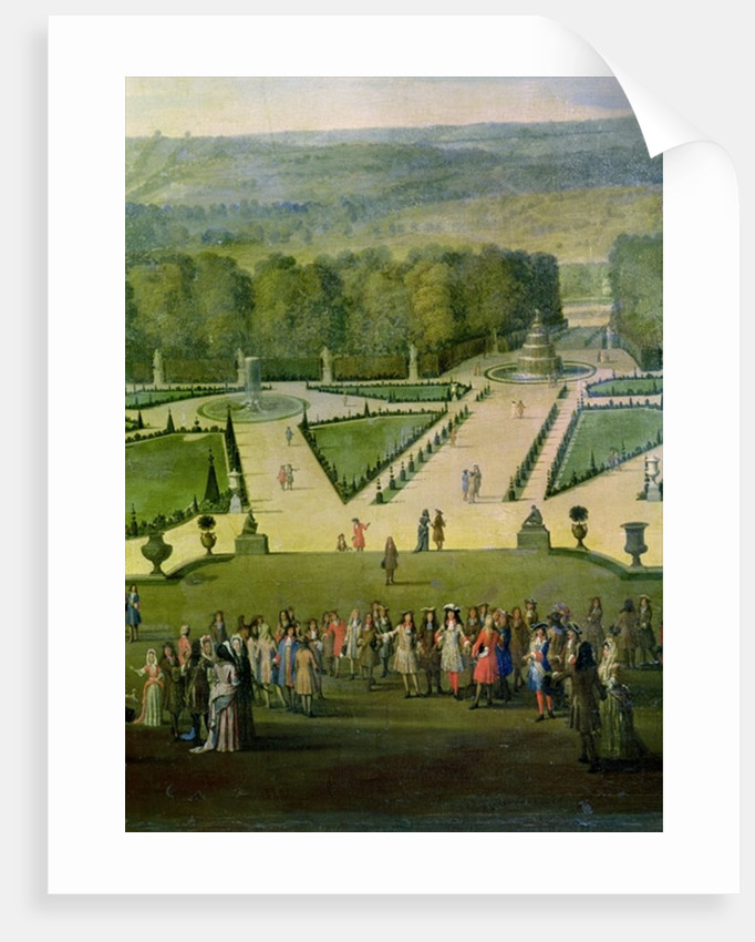 Promenade of Louis XIV by the Parterre du Nord, detail of Louis and his entourage by Etienne Allegrain