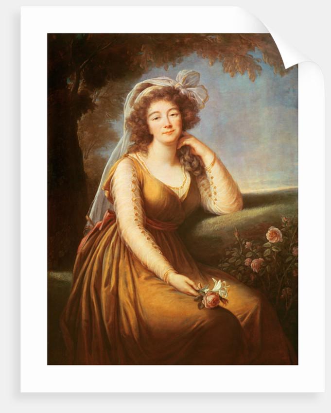 Comtesse du Barry, holding a rose by Elisabeth Louise Vigee-Lebrun