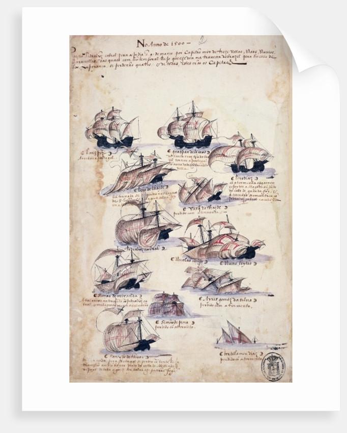 Pedro Alvares Cabral (c.1467-c.1520) Arriving in Brazil in 1500 by Portuguese School