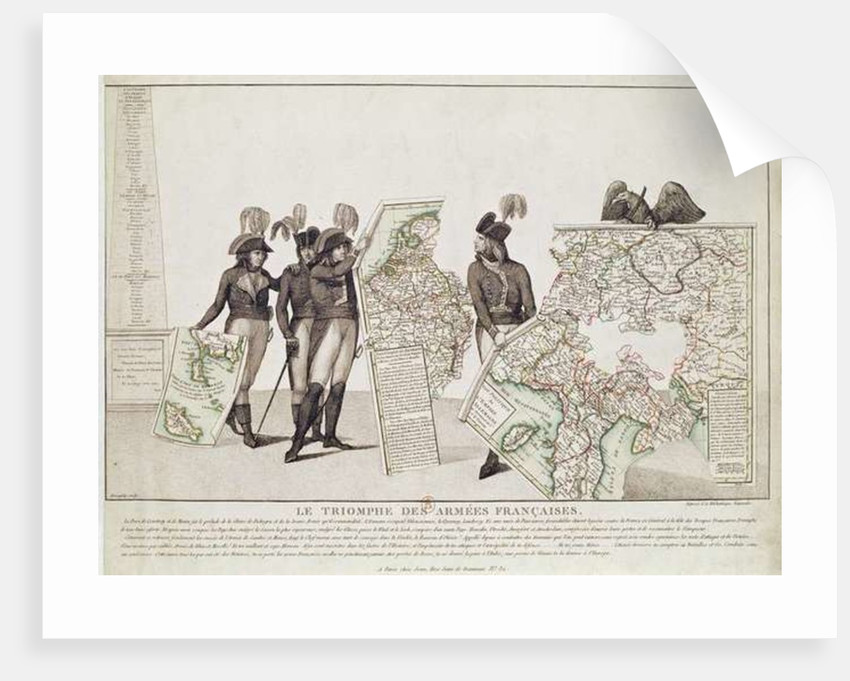 The Triumph of the French Armies, Napoleon and his Generals Holding Maps of their Victories at the Time of the Peace of Loeben by Antoine Maxime Monsaldy