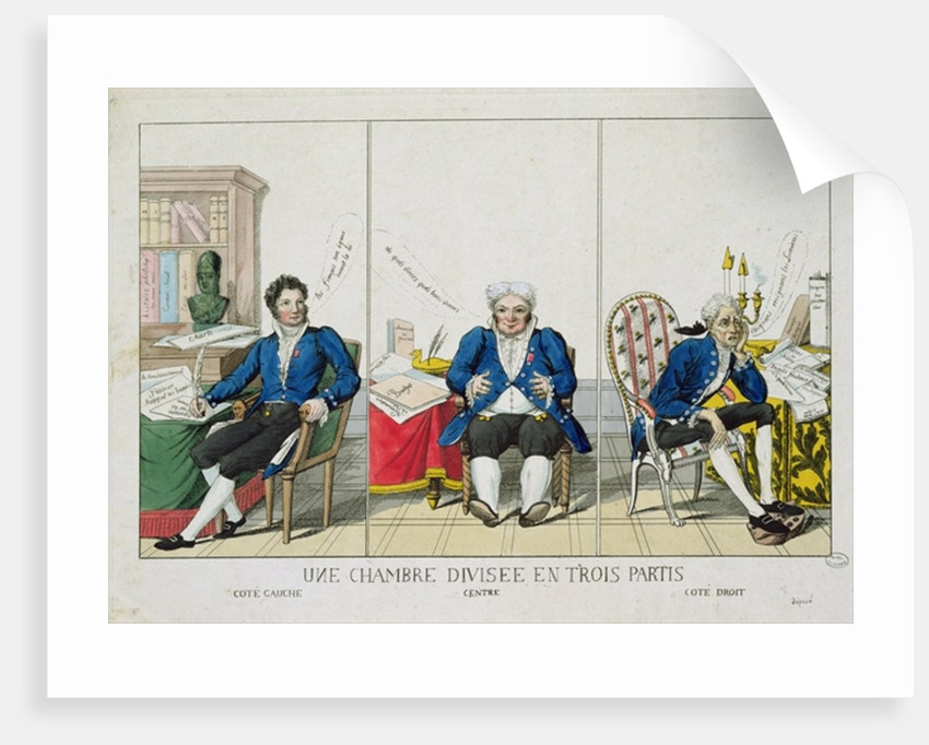 La Chambre Divisee en Trois Partis, caricature of the National Assembly by French School