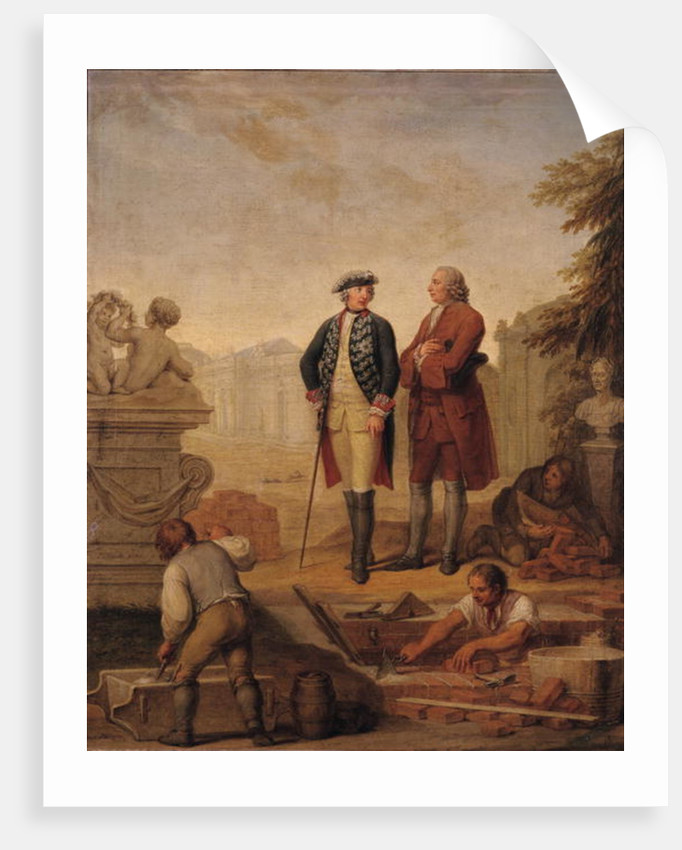 King Frederick II of Prussia and the Marquis of Argens inspecting the construction of Sanssouci in Potsdam by Johann Christoph Frisch