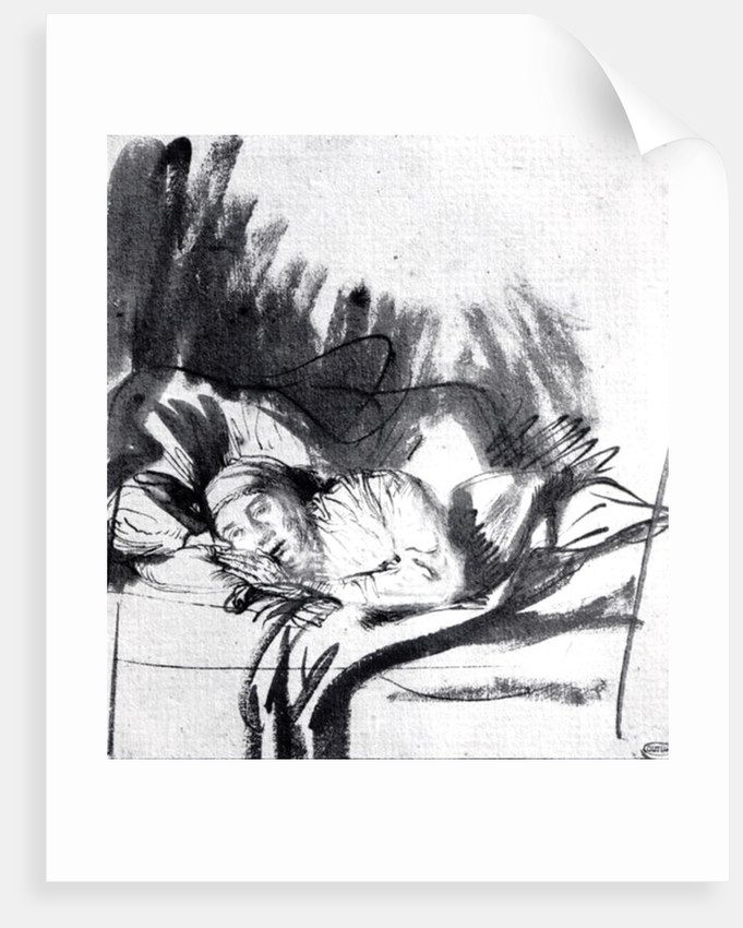 Sick woman in a bed, maybe Saskia, wife of the painter by Rembrandt Harmensz. van Rijn